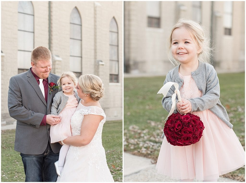 Bride, groom, and flower girl before wedding at Sacred Heart Catholic Church in Fowler, Indiana