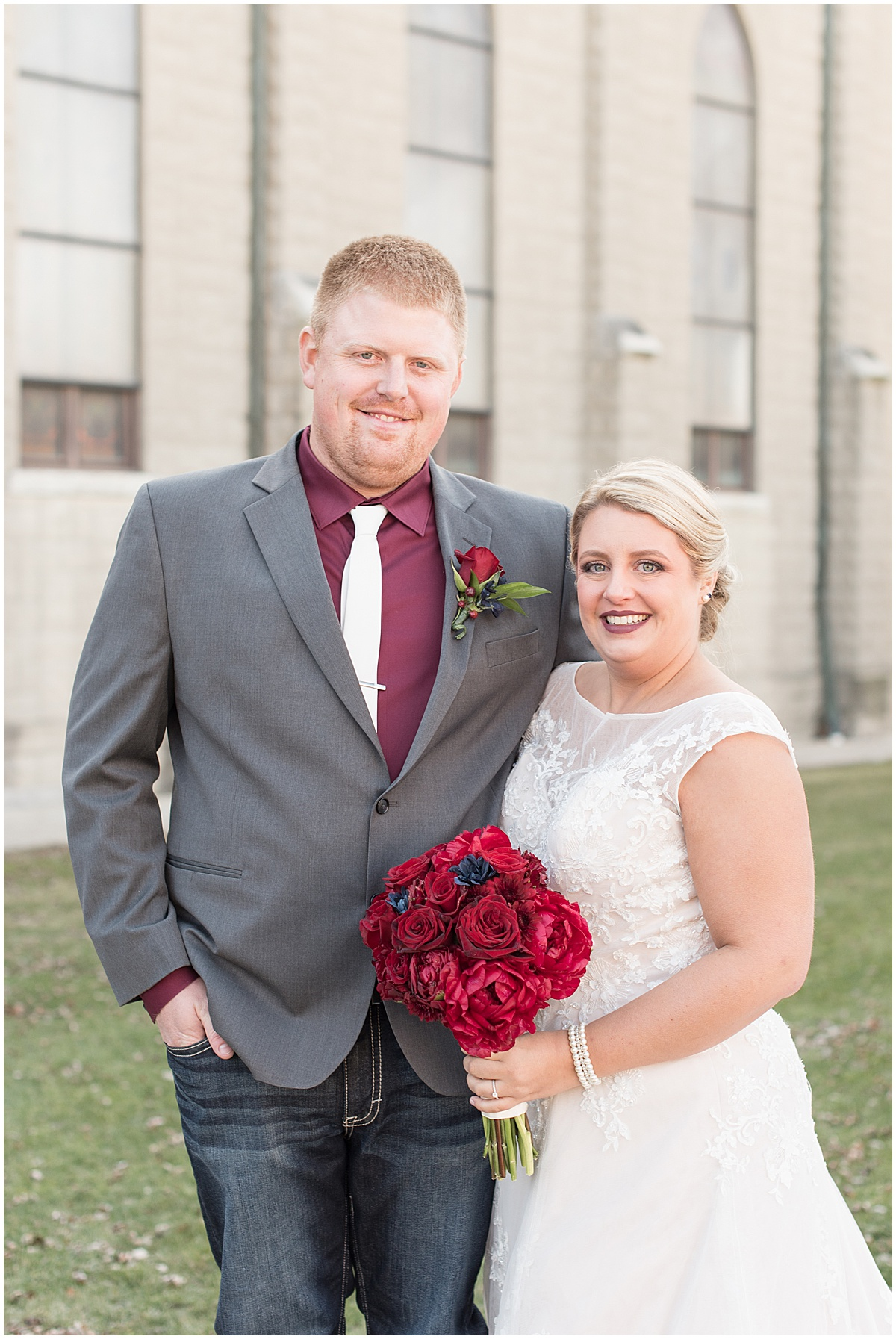 Bride and groom before wedding at Sacred Heart Catholic Church in Fowler, Indiana