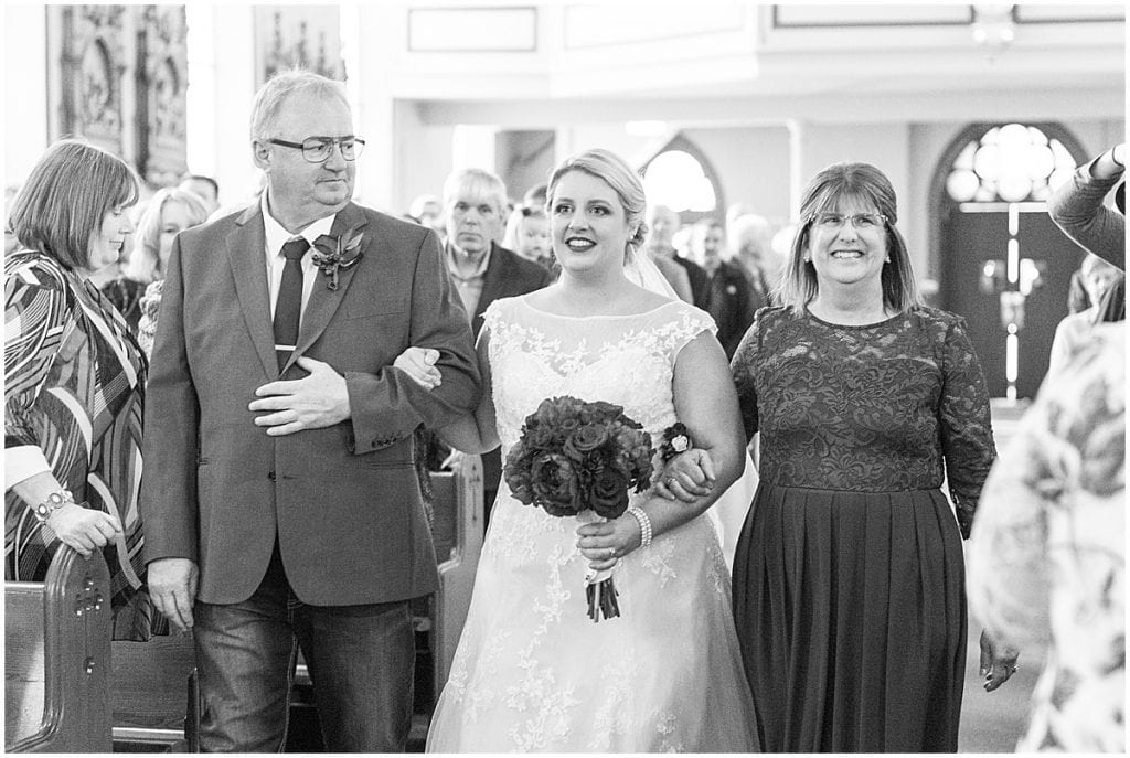Wedding at Sacred Heart Catholic Church in Fowler, Indiana