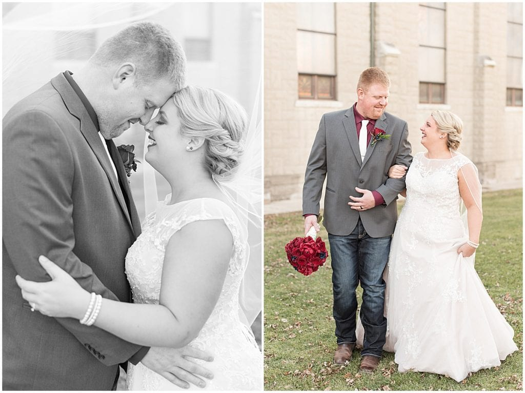 Bride and groom after wedding at Sacred Heart Catholic Church in Fowler, Indiana