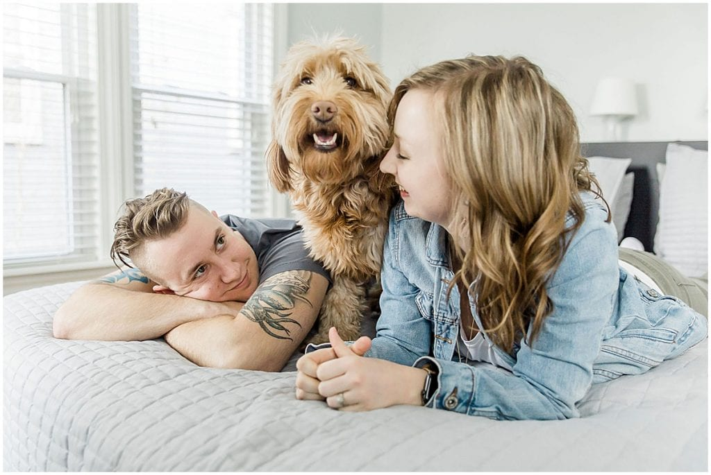 Zach, Victoria, and Hattie Rayburn during in-home photo session by New Adventure Productions