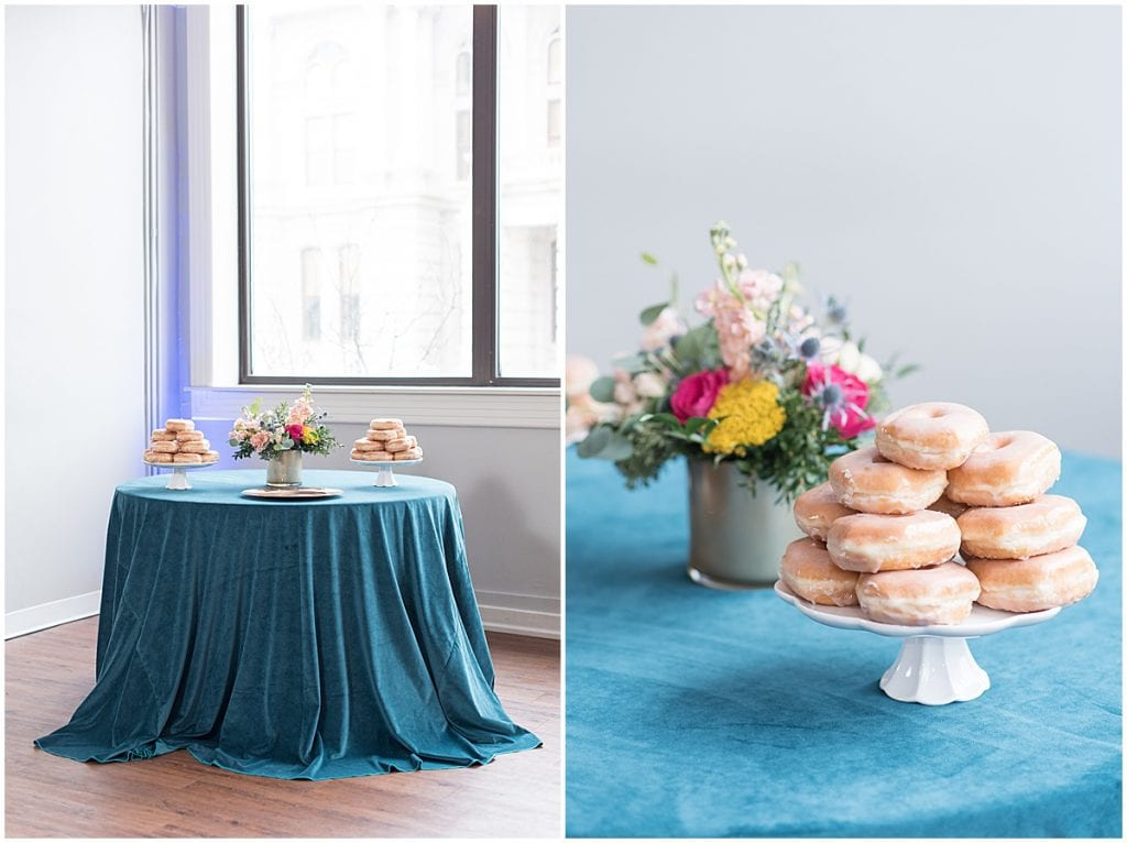 Donuts for wedding reception at the Rat Pak Venue in Lafayette, Indiana