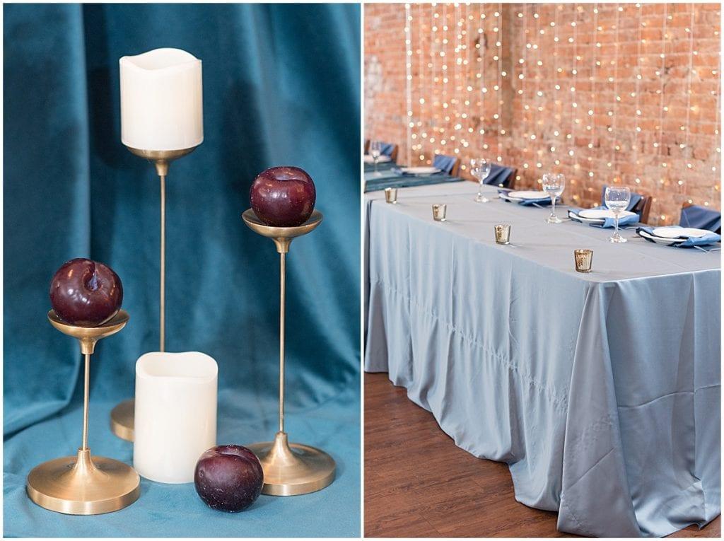 Wedding reception decor at the Rat Pak Venue in Lafayette, Indiana