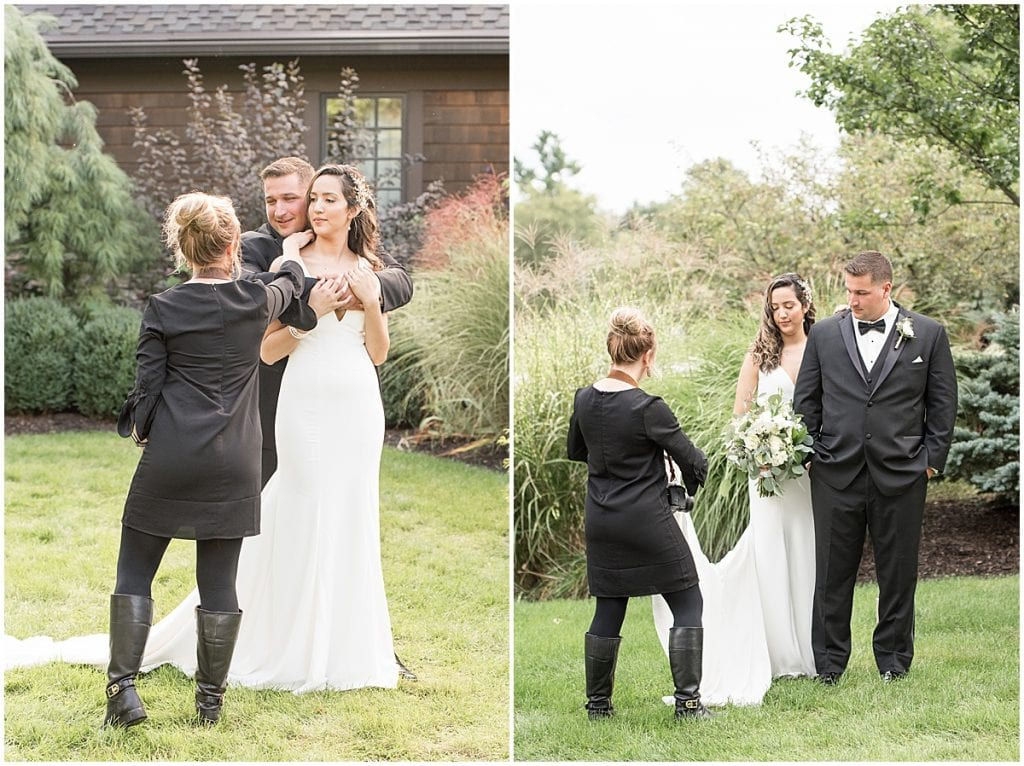 Victoria Rayburn—Lafayette, Indiana wedding photographer—helping bride and groom