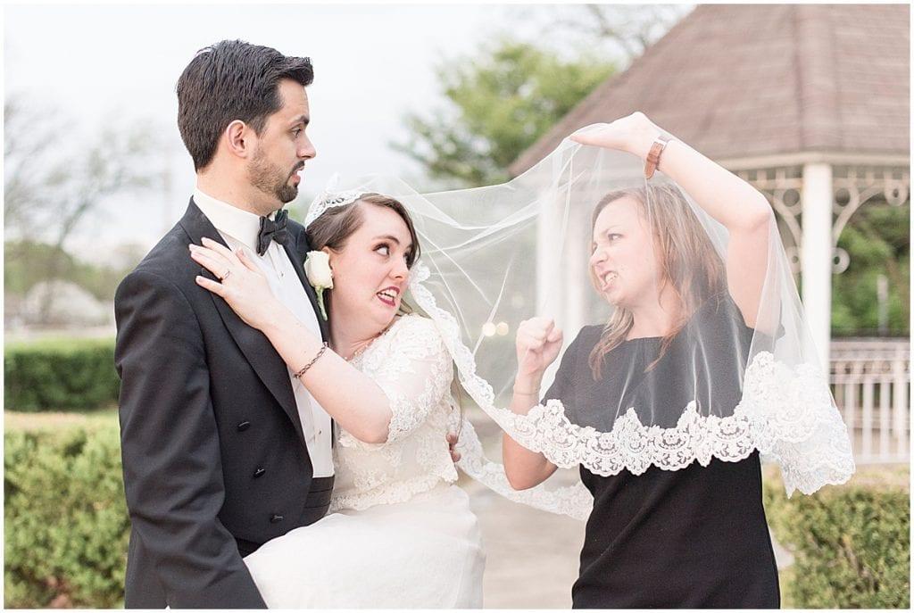 Victoria Rayburn under bride's veil