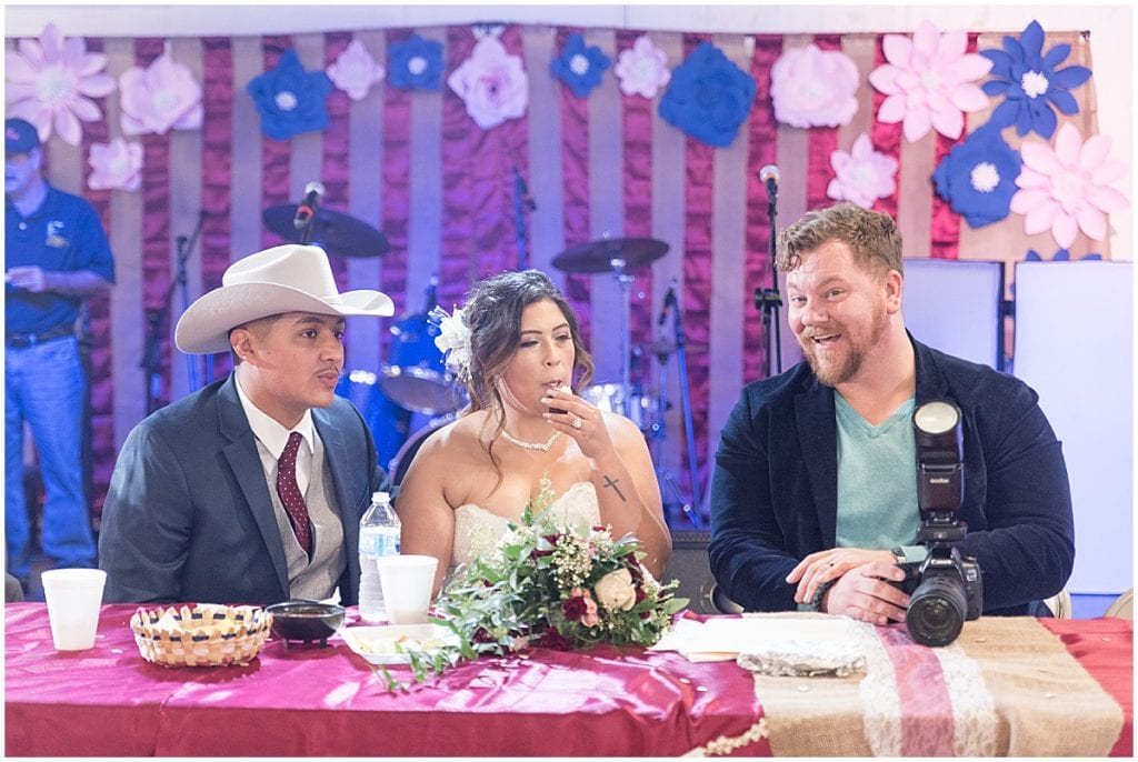 Nate Dale hanging out with bride and groom