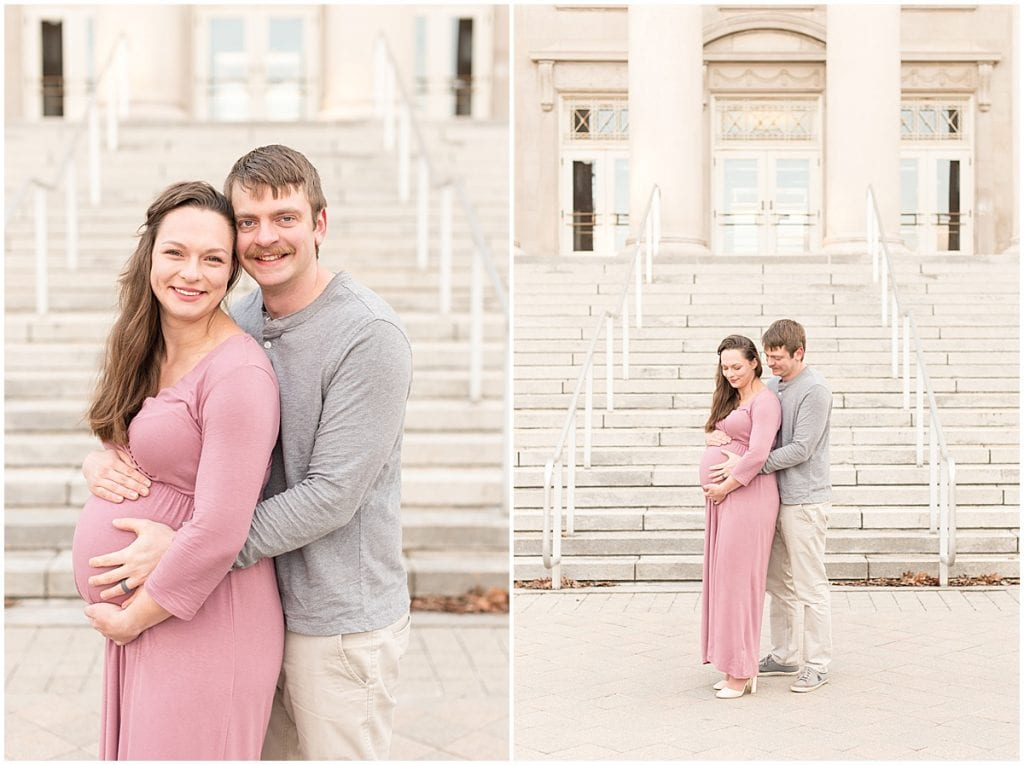 Maternity photos at Purdue University in West Lafayette, Indiana