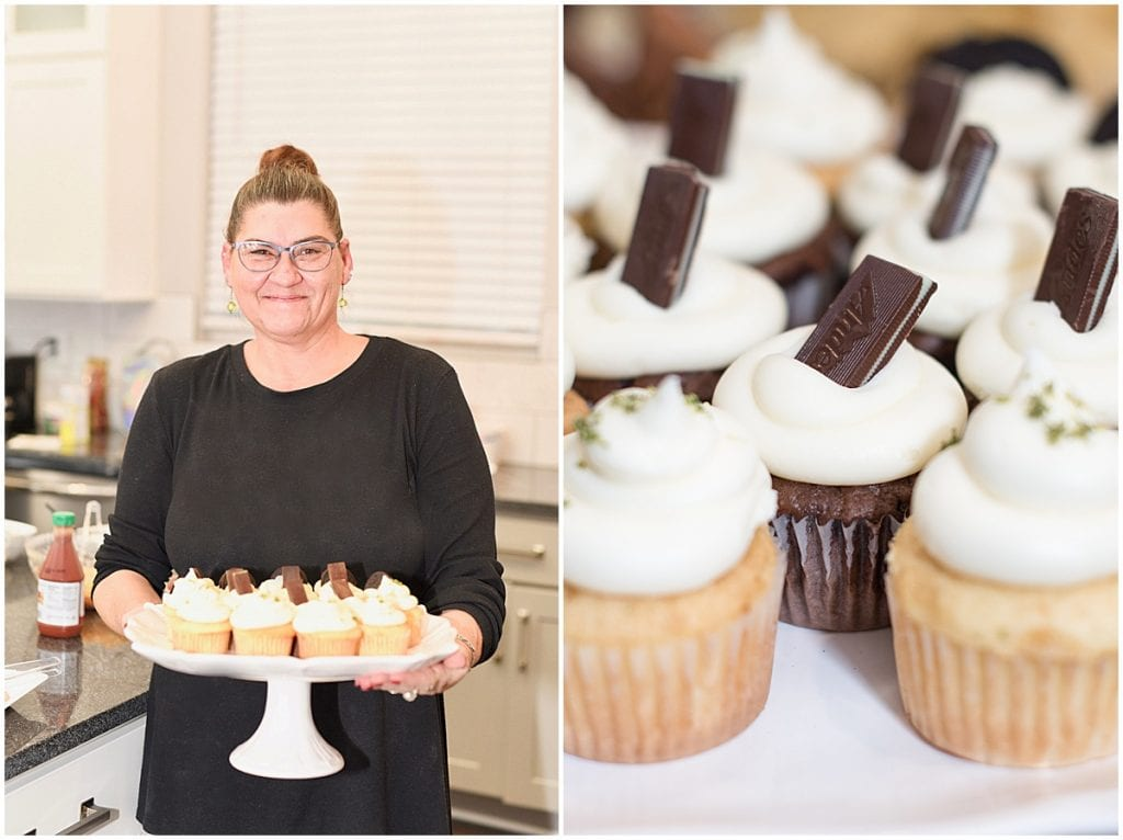 Connie of Sassy Sweets Catering holding cupcakes at the 2020 In Focus Marketing Summit
