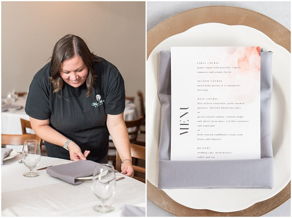 Wedding Planner Taia Alvarado of White Willow Events decorating a table for a wedding