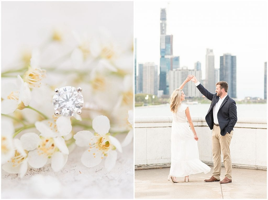 Engaged couple dancing in Chicago and engagement ring in flowers