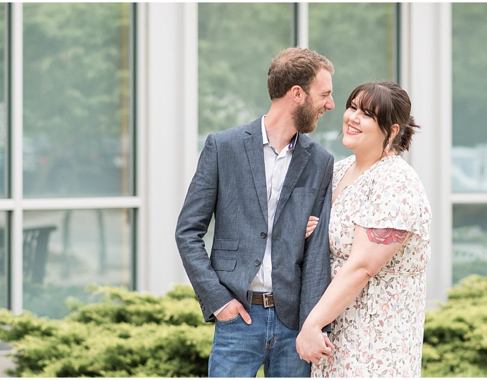 Engagement photos in downtown Crown Point, Indiana
