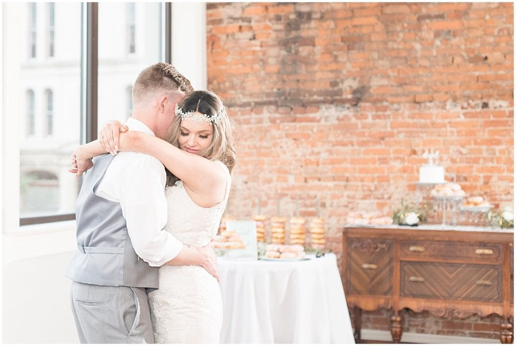 Bride and groom dancing at the Rat Pak Venue in Lafayette, Indiana
