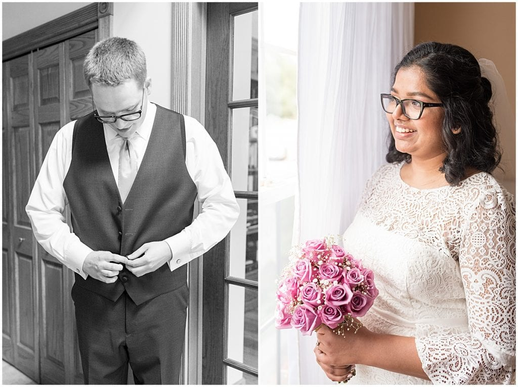 Bride and groom getting ready for backyard wedding in West Lafayette, Indiana