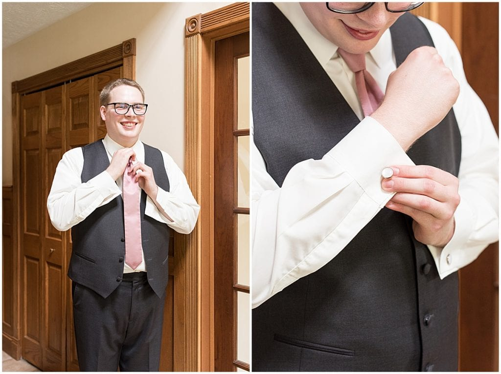 Groom getting ready for backyard wedding in West Lafayette, Indiana