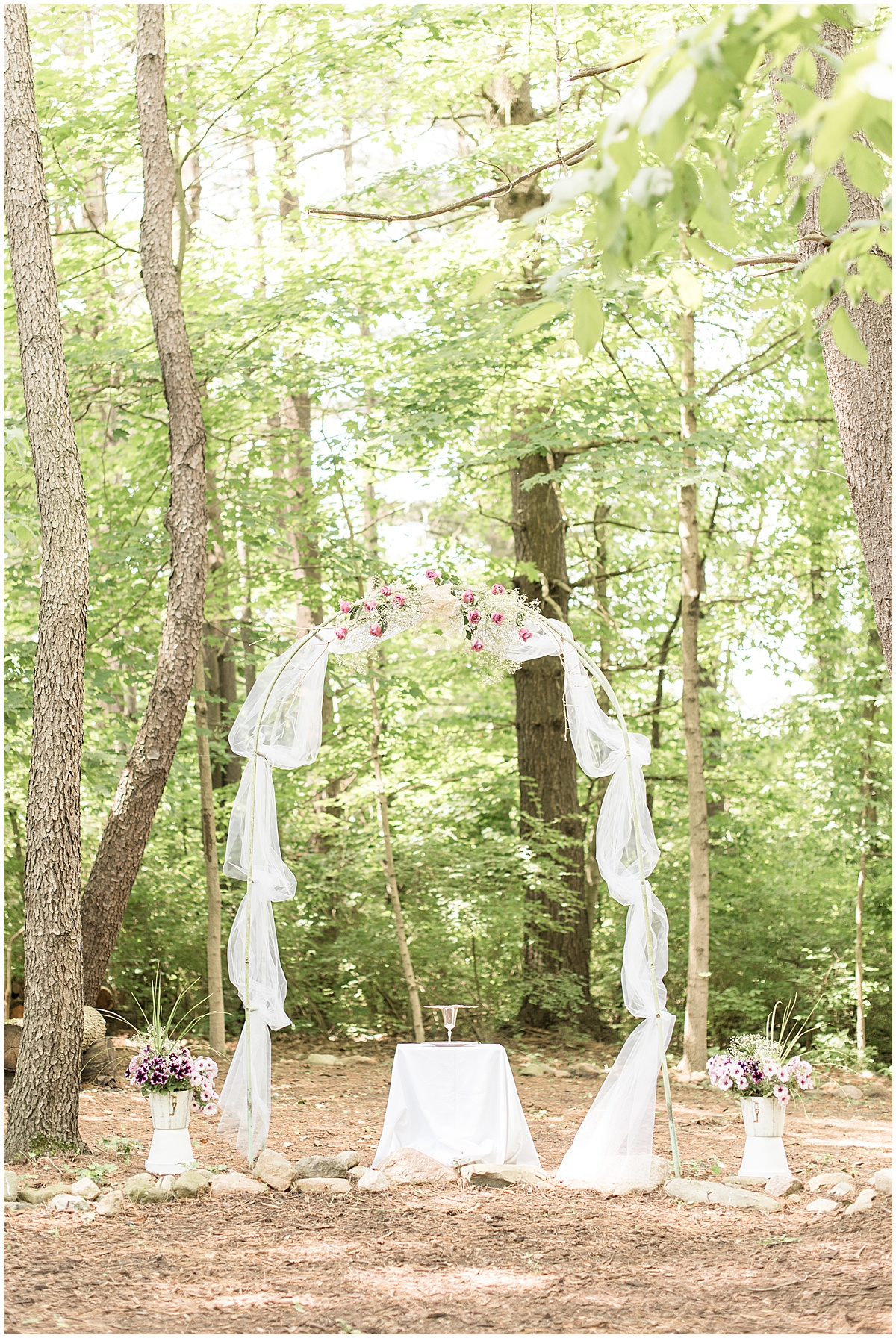 Arch for a backyard wedding in West Lafayette, Indiana