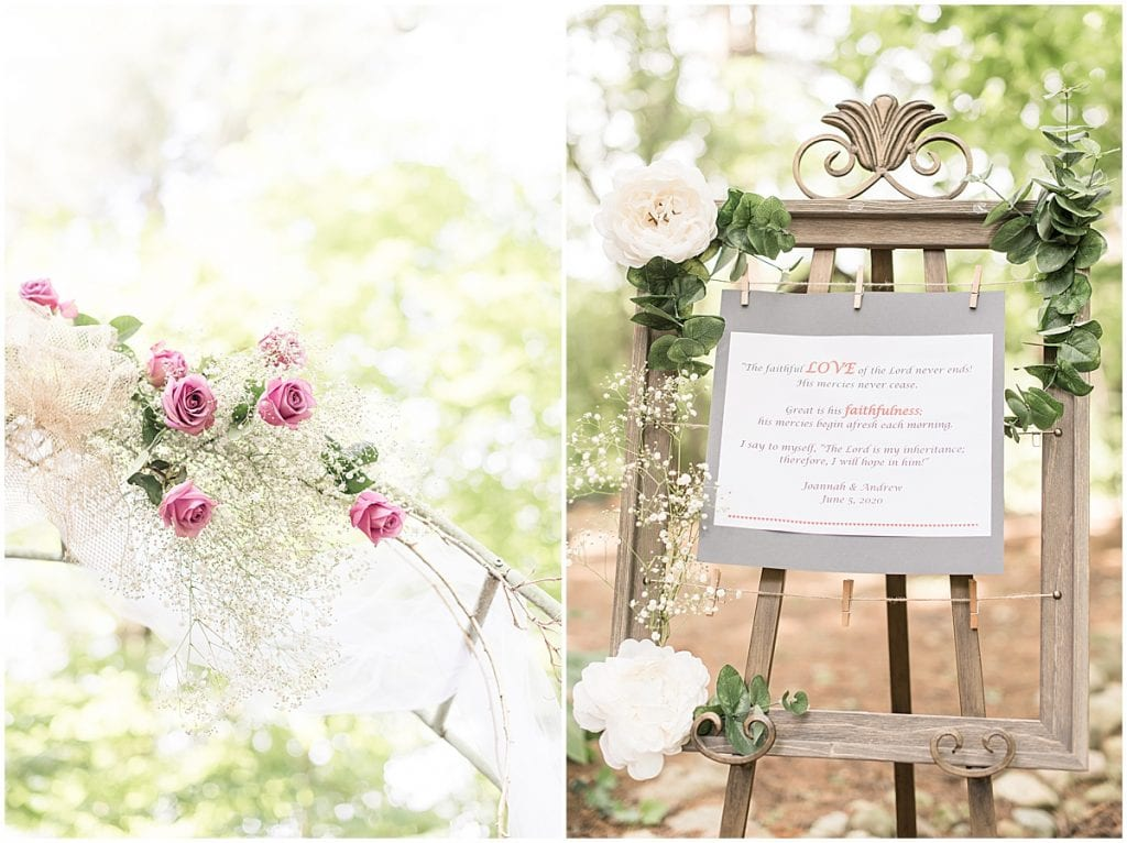 Decorations for backyard wedding in West Lafayette, Indiana