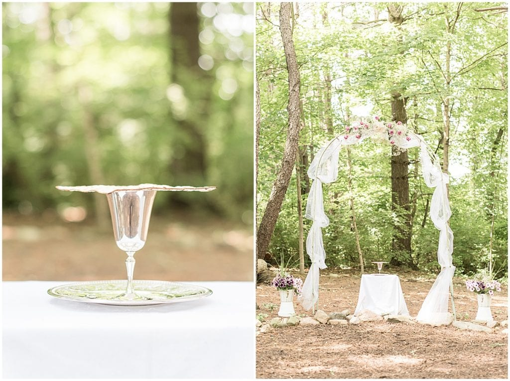 Communion and arch for backyard wedding in West Lafayette, Indiana