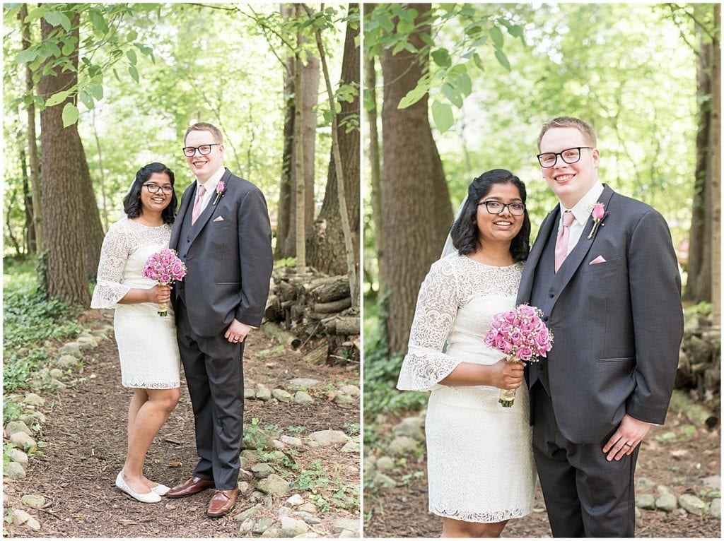 Bride and groom after Backyard wedding in West Lafayette, Indiana