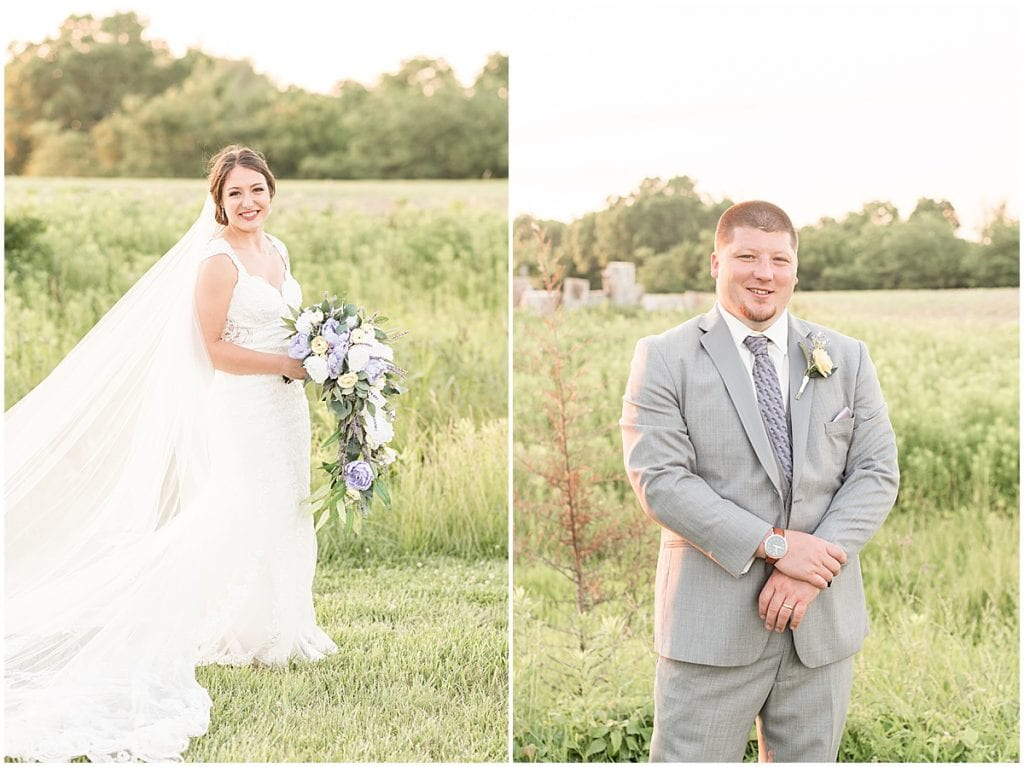 Bride and groom sunset photos after wedding at Hunny Creek Haven in Waldron, Indiana