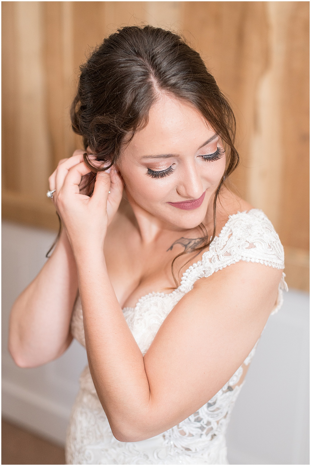 Bride getting ready for wedding at Hunny Creek Haven in Waldron, Indiana