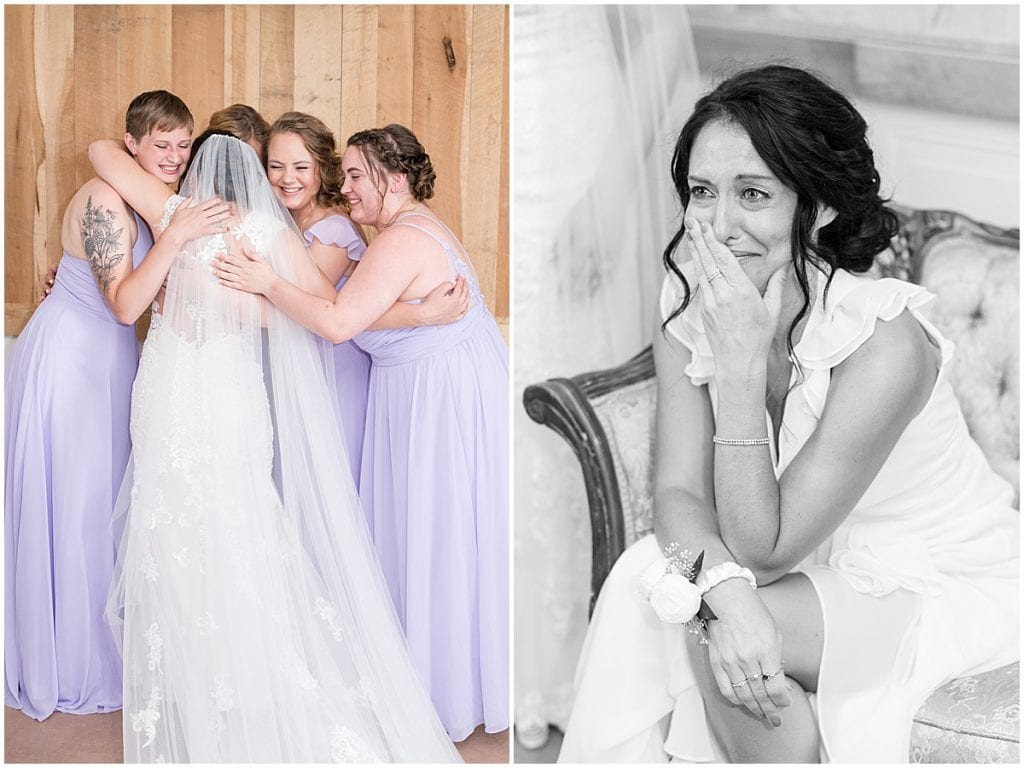 Bride's first look with her bridesmaids at wedding at Hunny Creek Haven in Waldron, Indiana