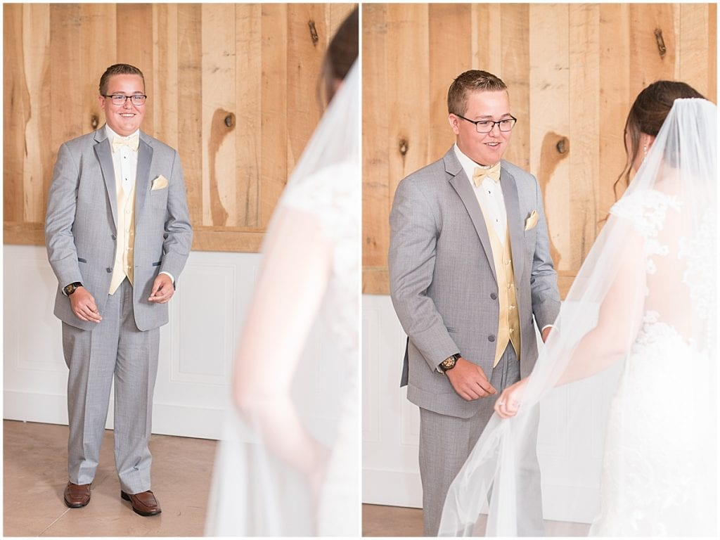 Bride's first look with her brother at wedding at Hunny Creek Haven in Waldron, Indiana