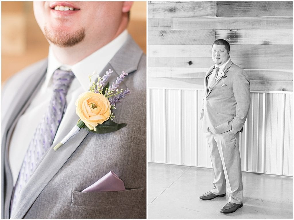 Groom getting ready for wedding at Hunny Creek Haven in Waldron, Indiana