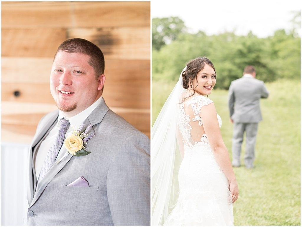 Bride and groom at wedding at Hunny Creek Haven in Waldron, Indiana
