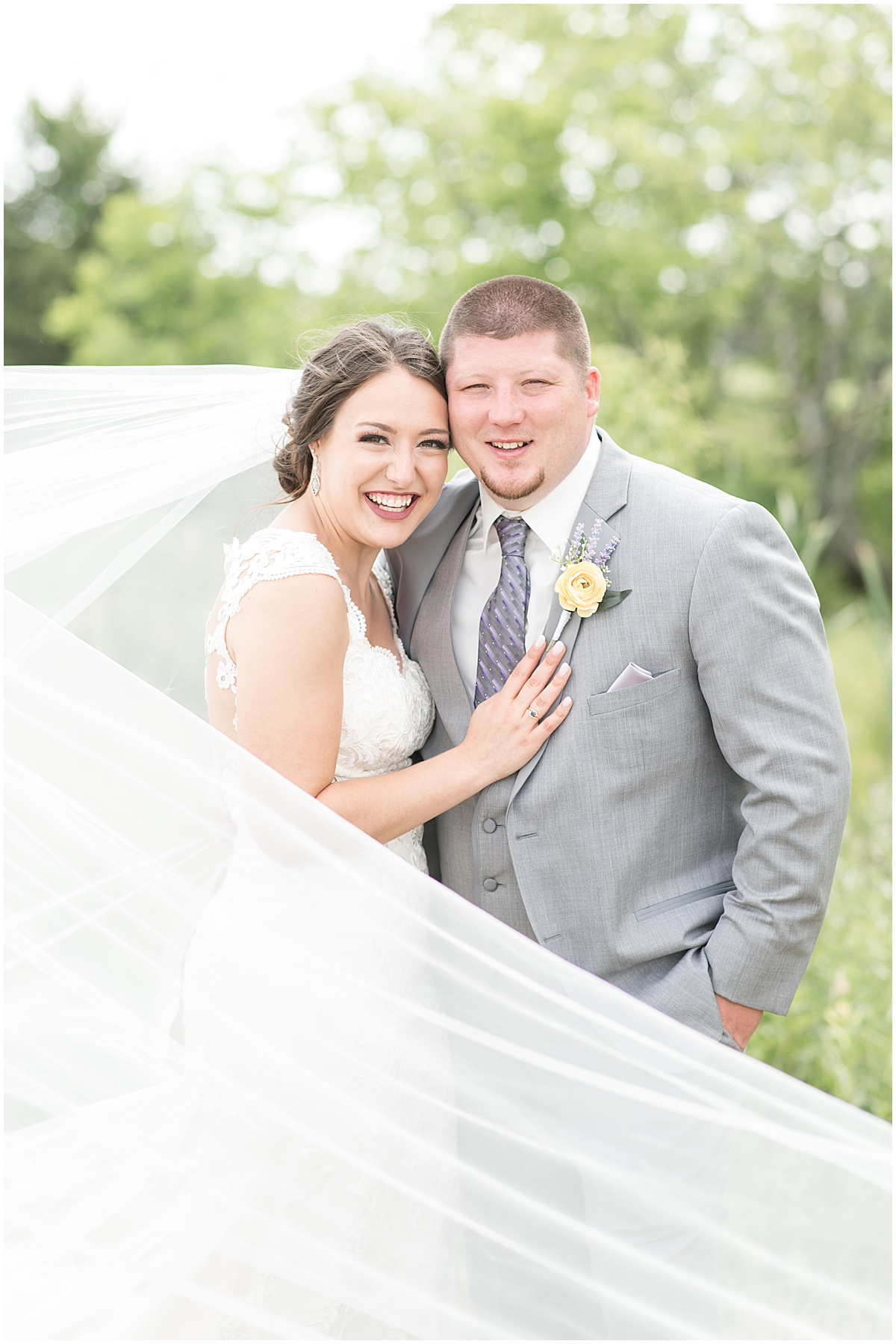 Bride and groom portraits after wedding at Hunny Creek Haven in Waldron, Indiana