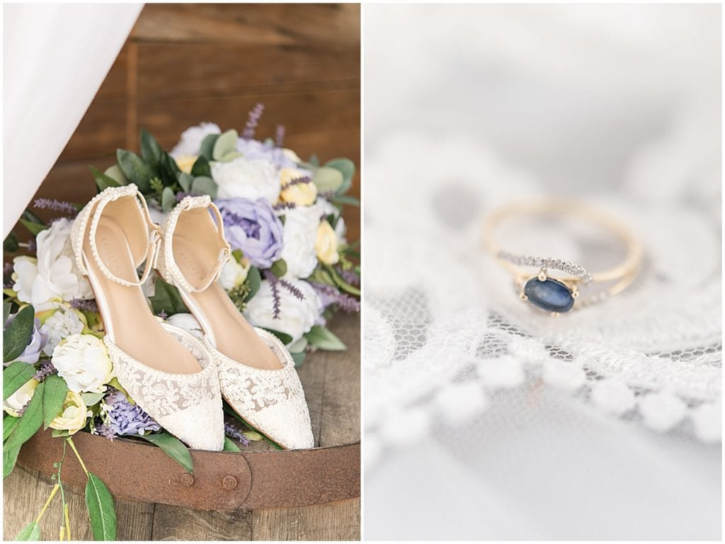 Bridal details for purple and yellow wedding at Hunny Creek Haven in Waldron, Indiana