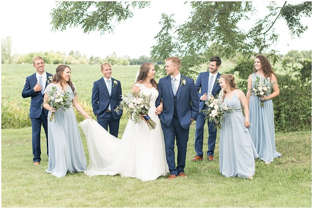 Socially distanced bridal party photo during mask mandates