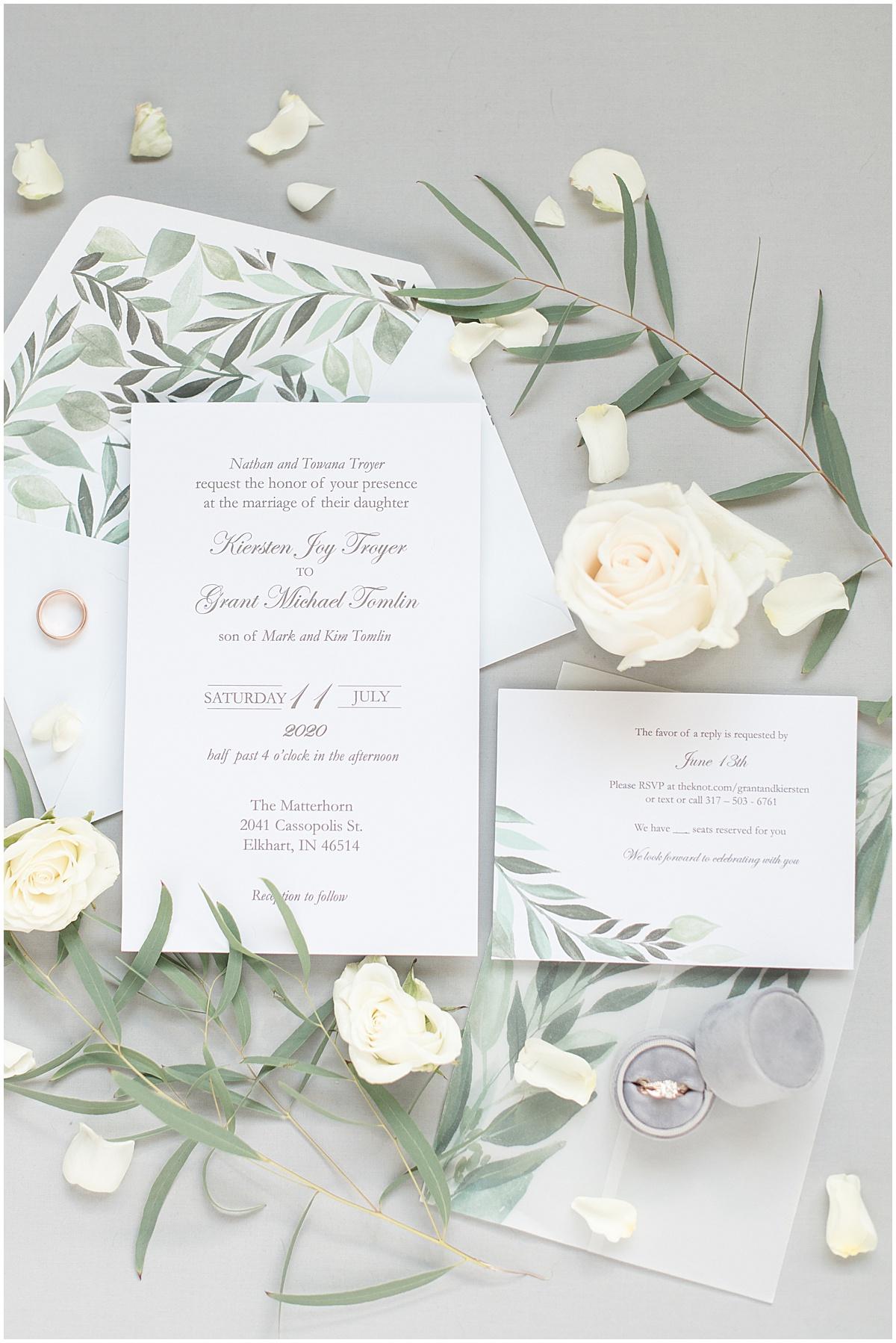 Wedding invitation for wedding at The Matterhorn in Elkhart, Indiana