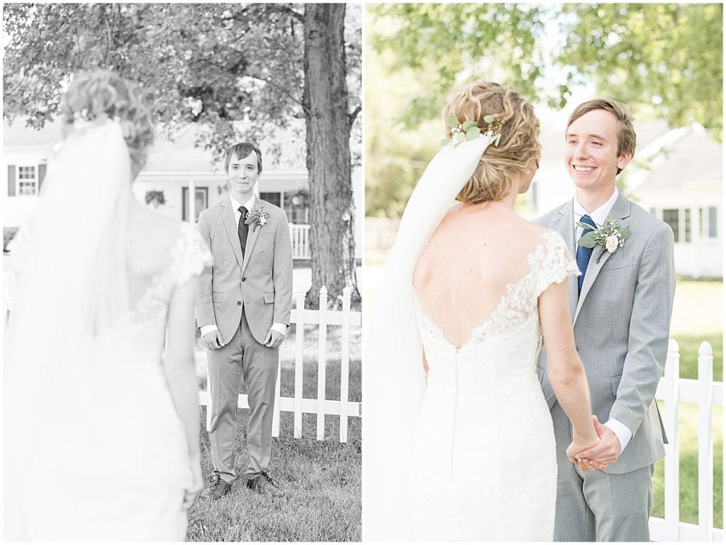 Bride and groom's first look before wedding at The Matterhorn in Elkhart, Indiana