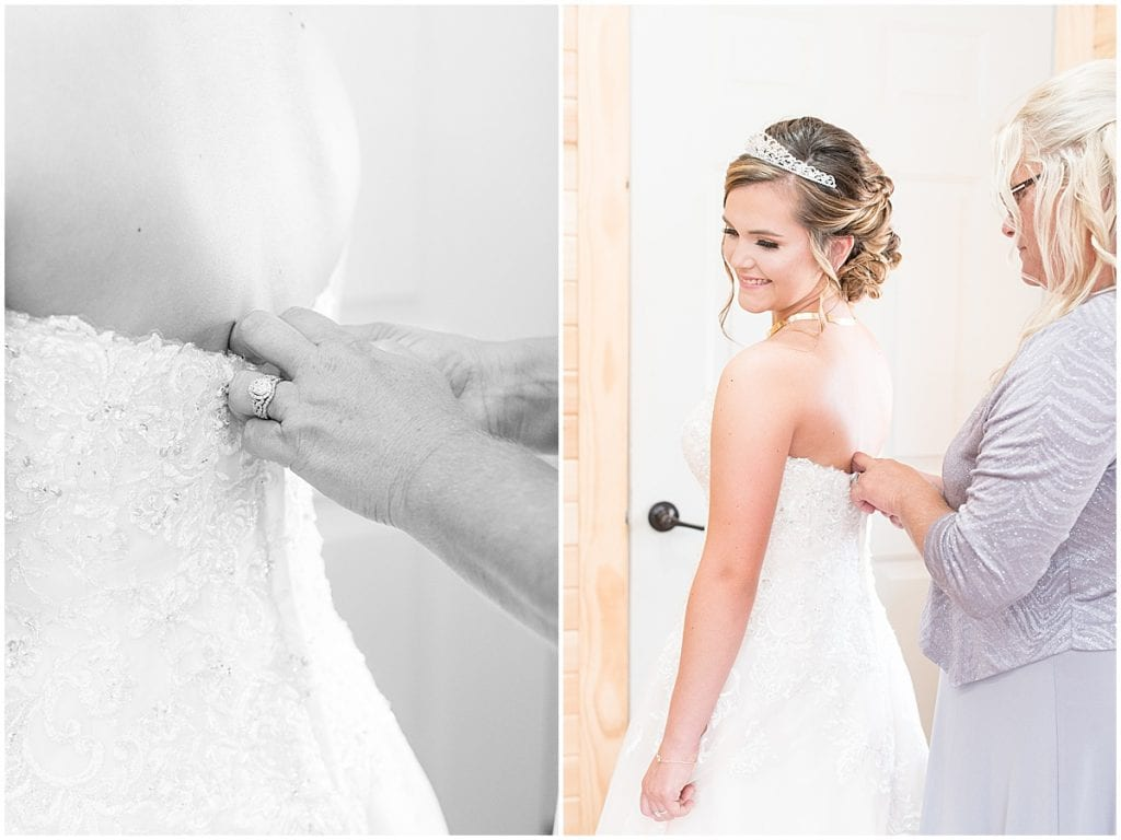 Bride getting ready for wedding at Wea Creek Orchard in Lafayette, Indiana