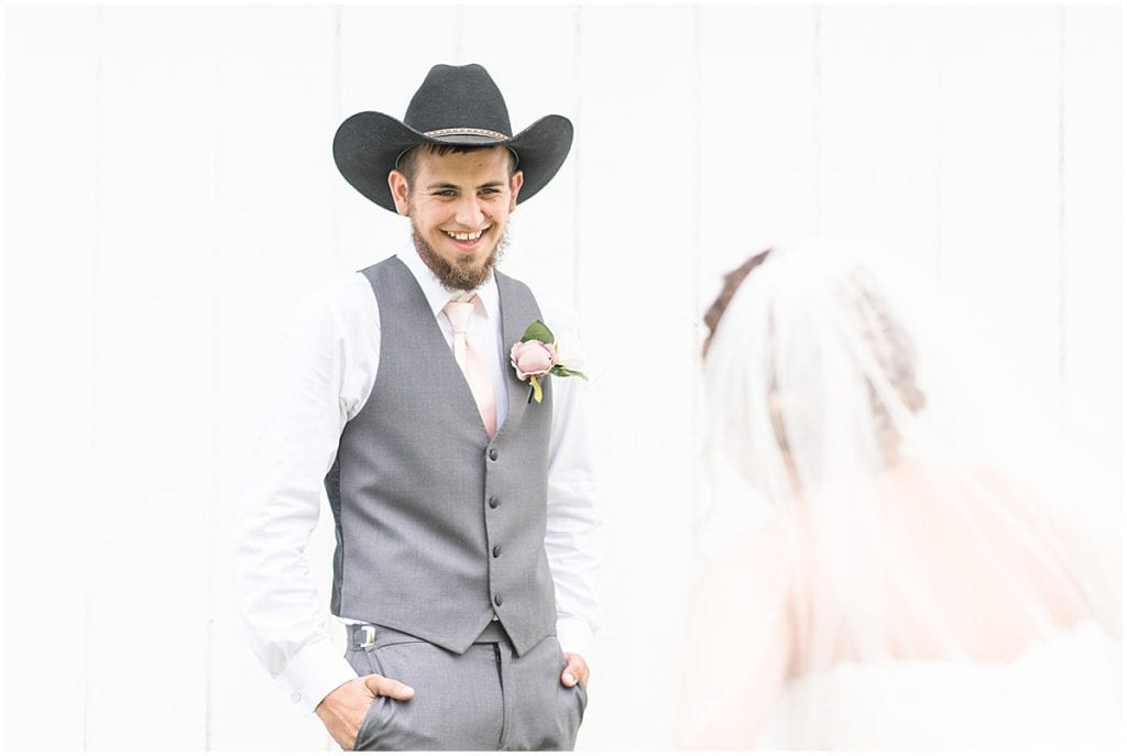 Bride and groom first look before wedding at Wea Creek Orchard in Lafayette, Indiana