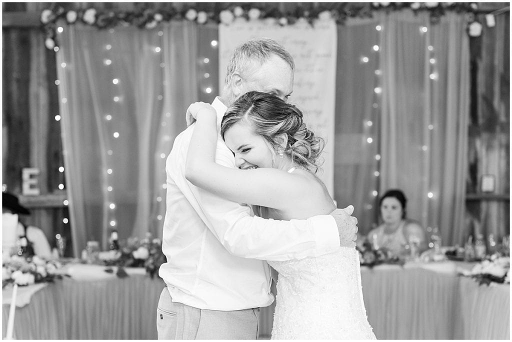 Reception for wedding at Wea Creek Orchard in Lafayette, Indiana