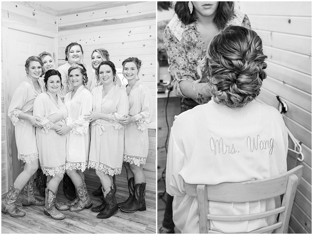 Bridesmaids getting ready for wedding at Wea Creek Orchard in Lafayette, Indiana