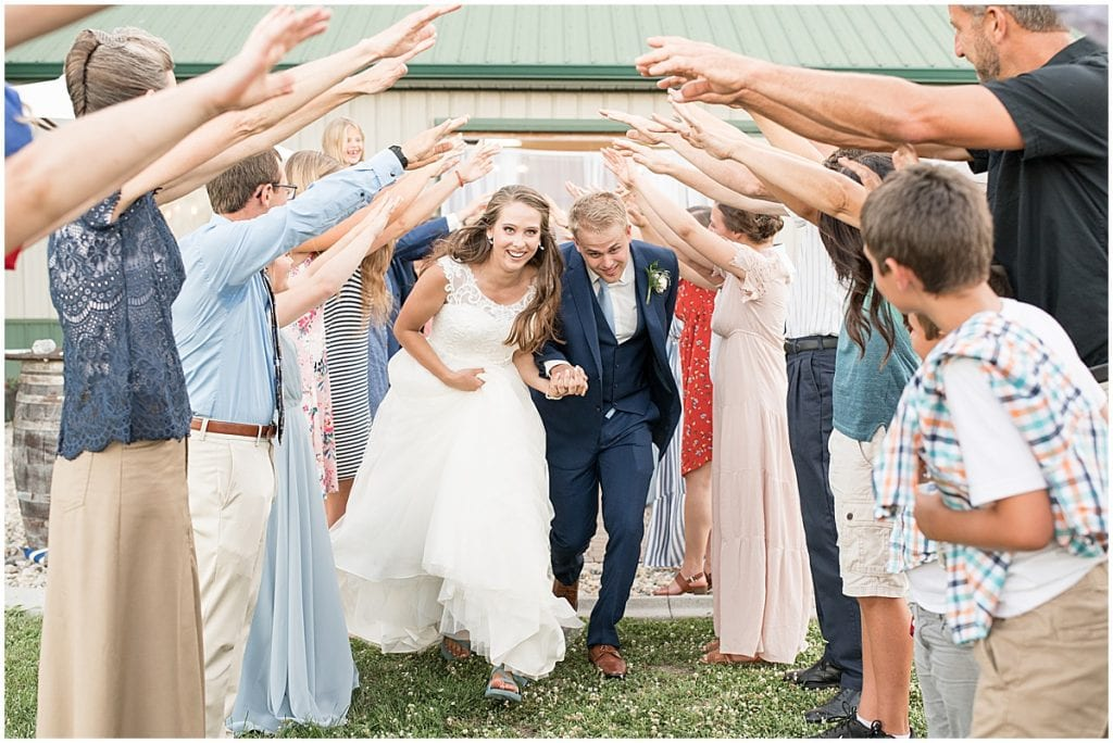Bride and Groom Grand Exit at The Blessing Barn in Lafayette, Indiana