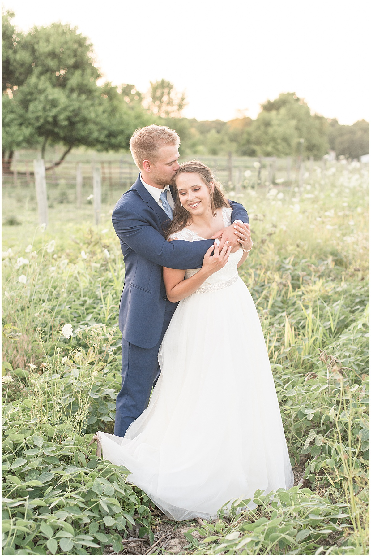 Bride and Groom Sunset Portraits at The Blessing Barn in Lafayette, Indiana