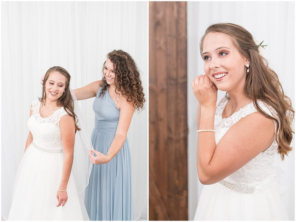 Bride Getting Ready at The Blessing Barn in Lafayette, Indiana