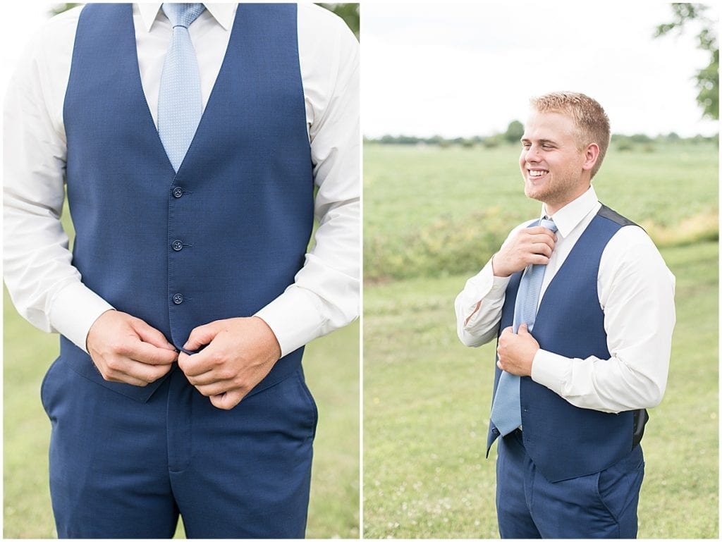 Groom Getting Ready at The Blessing Barn in Lafayette, Indiana