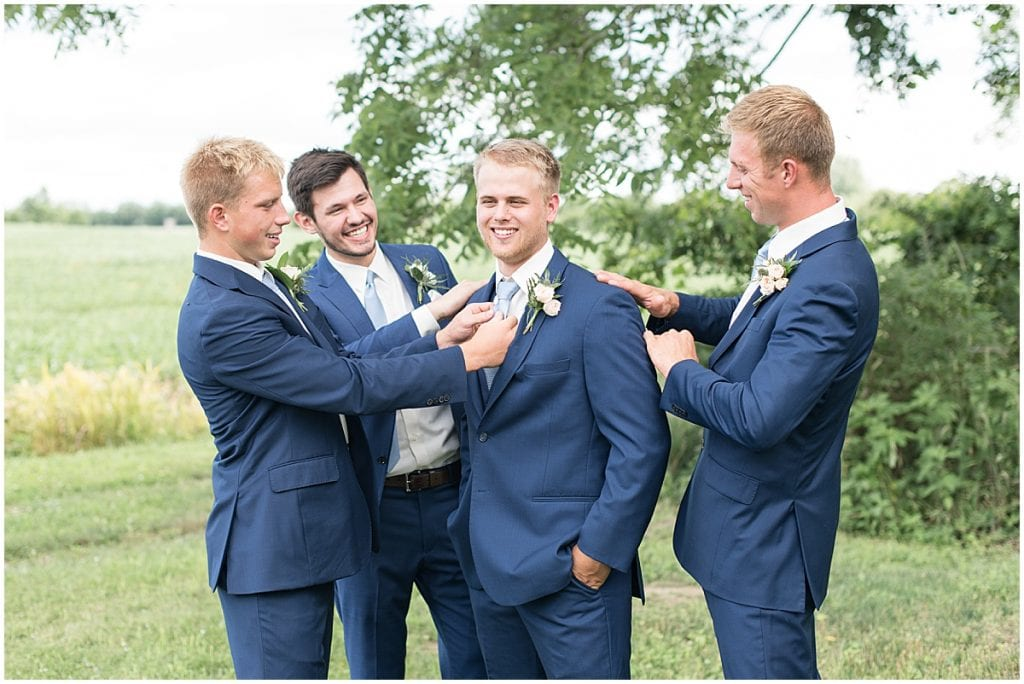Groomsmen at The Blessing Barn in Lafayette, Indiana
