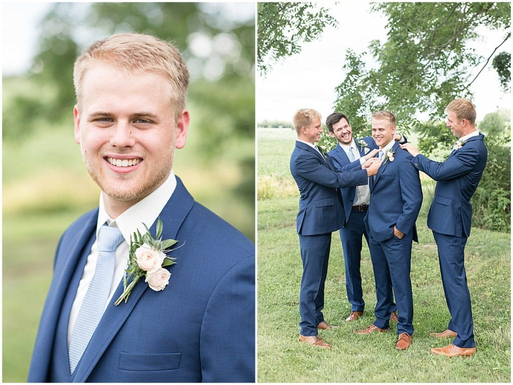 Groom and Groomsmen at The Blessing Barn in Lafayette, Indiana