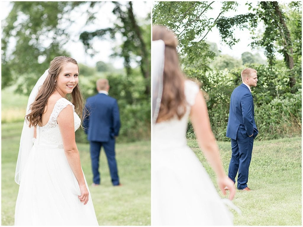 First Look with Groom at The Blessing Barn in Lafayette, Indiana