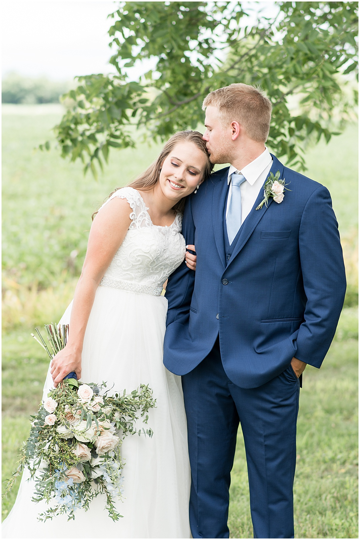 Bride and Groom at The Blessing Barn in Lafayette, Indiana