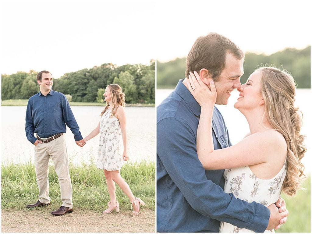 Engaged couple in Lakefront engagement photos in Lafayette, Indiana