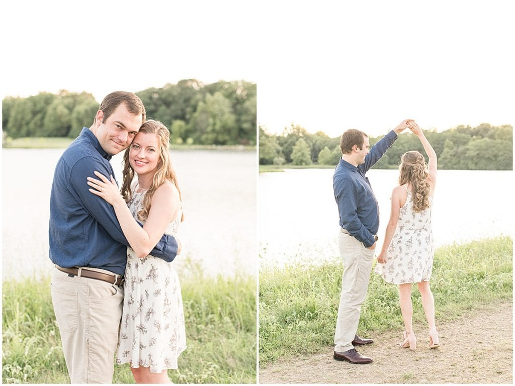 Couple dancing during Lakefront engagement photos in Lafayette, Indiana