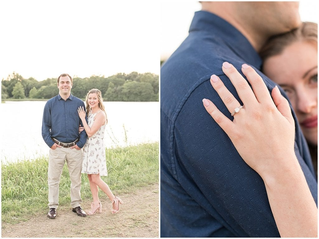 Engagement ring from Lakefront engagement photos in Lafayette, Indiana