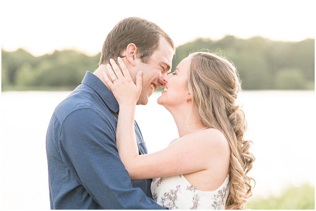 Couple embracing during Lakefront engagement photos in Lafayette, Indiana