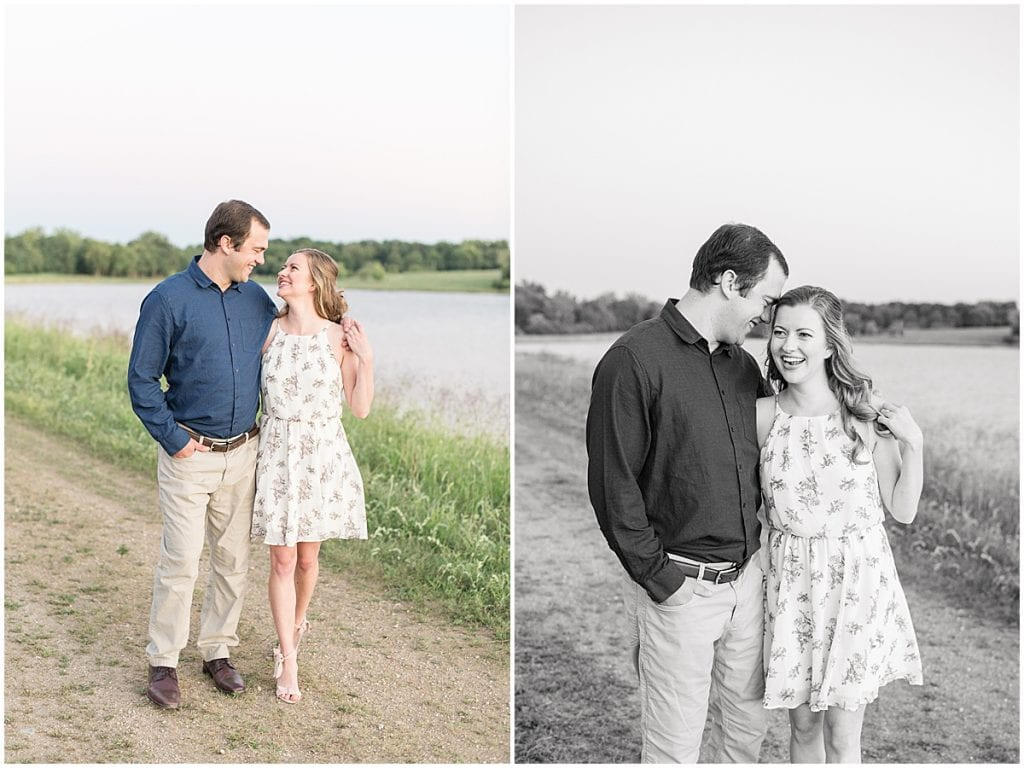 Couple looking at each other for Lakefront engagement photos in Lafayette, Indiana